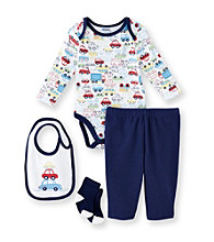 Cuddle Bear® Baby Boys' Navy 4-pc. Long Sleeve Car Print Take-Me-Home Set