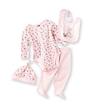Cuddle Bear® Baby Girls' Pink 4-pc. Long Sleeve Vintage Toy Bunny Print Take-Me-Home Set