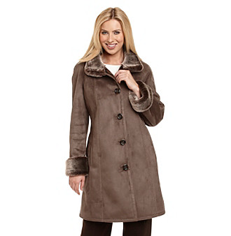 Gallery® Stand Collar Buttonfront Faux Shearling Walker
