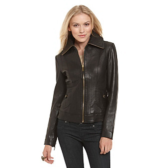 MICHAEL Michael Kors® Wing Collar Leather Scuba Jacket