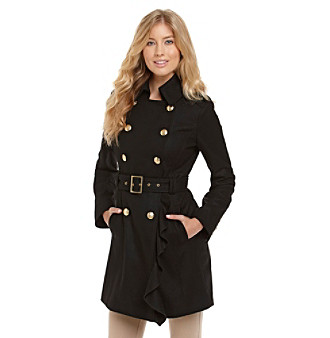 Guess Double-Breasted Ruffle-Front Walker Coat