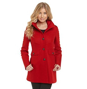 Guess Single-Breasted Hooded Funnelneck Coat