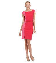 Calvin Klein Colorblocked Sheath Dress With Belt