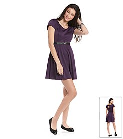 A. Byer Juniors' Plum Ponte Skater Skirt Dress