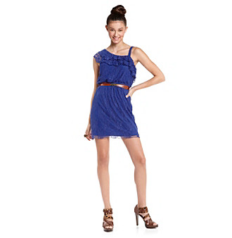 City Triangles Juniors' Blue Lace Dress