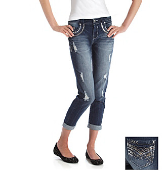 Wallflower Vintage® Juniors' Destructed Boyfriend Jean