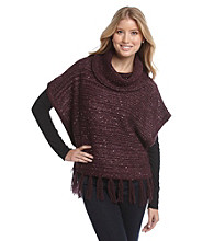 Nine West Vintage America Collection® Cowlneck Fringe Poncho Sweater
