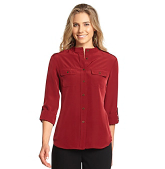 Jones New York Signature® Petites' Button-Front Roll-Sleeve Shirt