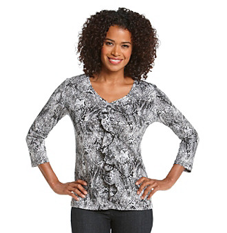 Jones New York Sport® Petites' Snake Print Ruffled Top