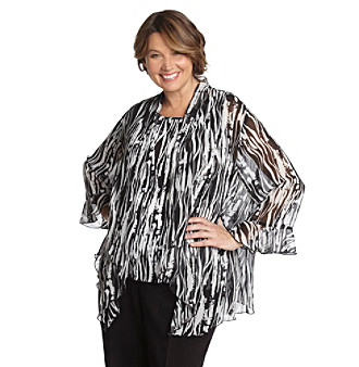 Alfred Dunner Plus Size Textured Layered-Look Blouse