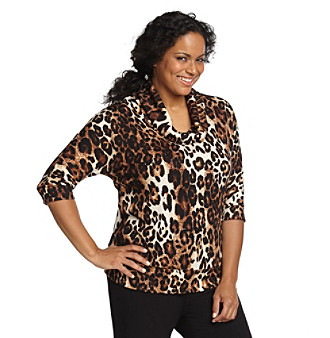 AGB® Plus Size Animal Print Top