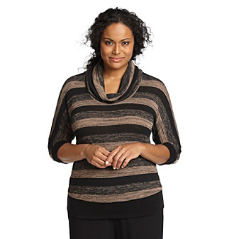 AGB® Plus Size Striped Sweater
