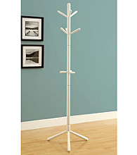 Monarch White Contemporary Coat Rack