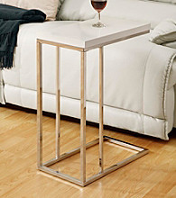 Monarch Glossy White Chrome Metal Snack Table
