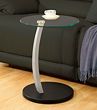 Monarch Black Bentwood Accent Table With Tempered Glass