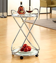 Monarch Metal Bar Cart with Frosted Tempered Glass