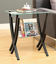 Monarch Cappuccino Bentwood Magazine Table with Tempered Glass