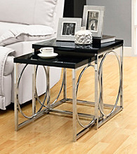 Monarch 2-pc. Glossy Black Metal Circles Nesting Table Set