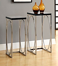 Monarch 2-pc. Glossy Black Metal Elegant Plant Stand Set