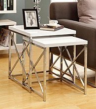 Monarch 2-pc. Criss-Cross Chrome Metal Nesting Table Set
