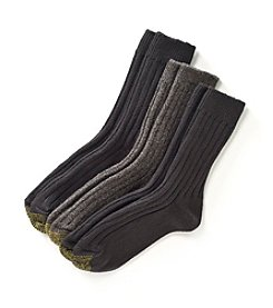GOLD TOE® 3-Pack Black/Gray AquaFX® Weekend Socks