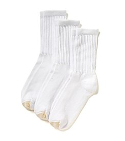 GOLD TOE® 3-Pack White HydroTec Crew Socks - Extended Sizes