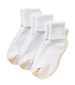 GOLD TOE® 3-Pack White HydroTec Terry Cuff Socks