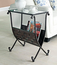 Monarch Mix Metal Magazine Table with Tempered Glass