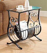 Monarch Satin Black Metal Magazine Table