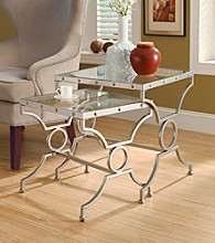 Monarch Royal Satin Silver 2-pc. Nesting Table Set