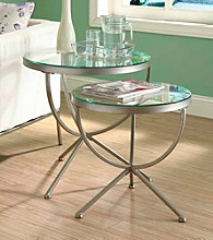 Monarch Trendy Silver 2-pc. Nesting Table Set