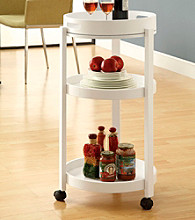 Monarch White Bar Cart with A Serving Tray On Castors