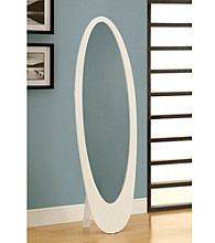 Monarch White Contemporary Oval Cheval Mirror