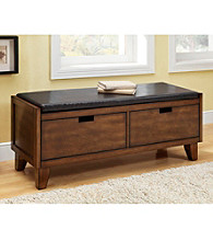Monarch Dark Brown Bench With Two Drawers