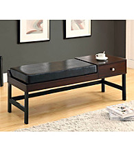 Monarch Dark Brown Leather-Look Bench