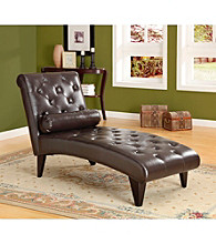 Monarch Dark Brown Leather-Look Chaise Lounger