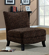 Monarch Brown Swirl Fabric Accent Chair
