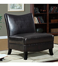 Monarch Dark Brown Leather-Look Accent Chair