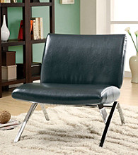 Monarch Leather-Look Metal Modern Accent Chair