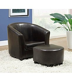 Monarch Leather-Look Juvenile Chair & Ottoman Set