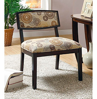 Monarch Circular Earthtone Fabric / Cappuccino Accent Chair