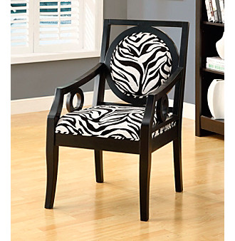Monarch Zebra Fabric Accent Chair