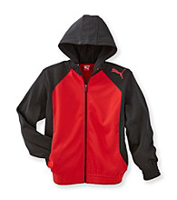 PUMA® Boys' 8-20 Black/Red Poly Fleece Hooded Jacket