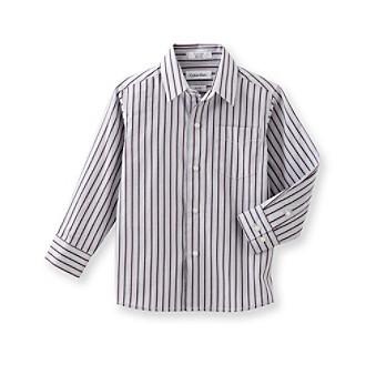 Calvin Klein Boys' 4-20 Purple Striped Dress Shirt