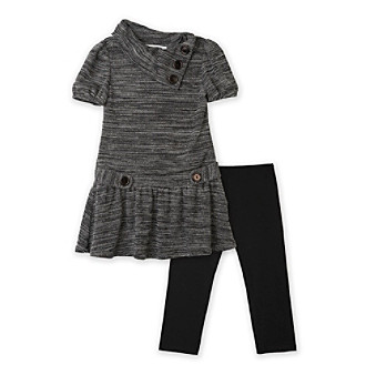 Amy Byer Girls' 4-6X Charcoal Grey Cowl Neck Sweater and Leggings Set