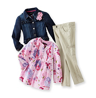 Calvin Klein Jeans® Girls' 2T-6X Pink 3-pc. Floral Denim Jacket and Cargo Pants Set