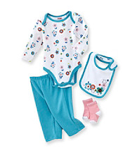 Cuddle Bear® Baby Girls' Blue Multi 4-pc. Long Sleeve Flower Print Take-Me-Home Set