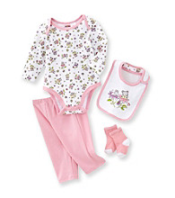 Cuddle Bear® Baby Girls' Pink 4-pc. Long Sleeve Mouse and Flower Print Take-Me-Home Set