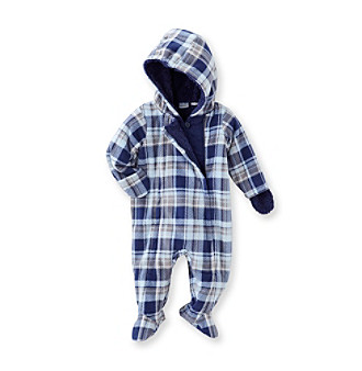 Cuddle Bear® Baby Boys' Blue Plaid Print Fleece Pram