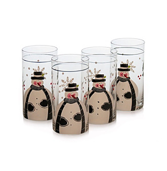 Certified International Snow Pals Set of 4 Highball Glasses